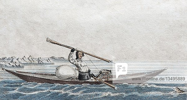 Grönländisches Kajak  handkolorierter Kupferstich aus Friedrich Justin Bertuch Bilderbuch für Kinder  1830  Weimar  Deutschland  Europa