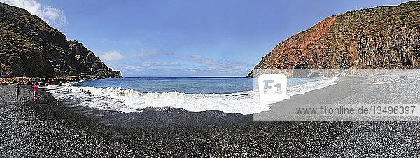 Panorama am Strand vom Playa de Vallehermoso  Vallehermoso  La Gomera  Kanarische Insel  Spanien  Europa