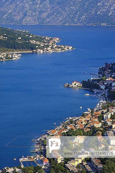 Dobrota und Prcanj  Ausblick von Festung Sveti Ivan in Kotor  Bucht von Kotor  Montenegro  Europa