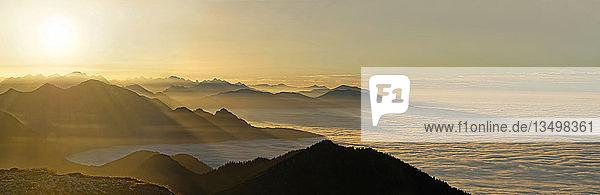 Sonnenuntergang  aus dem Nebelmeer herausragende Gipfel des Alpenvorlandes  Benediktenwand  bei Garmisch-Partenkirchen  Bayern  Deutsch