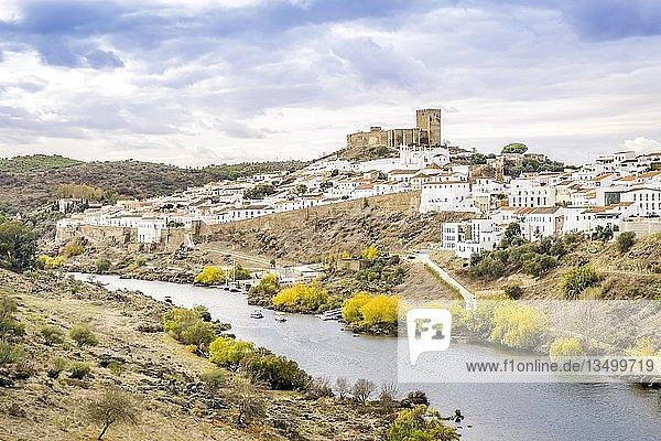 Mertola cityscape with an uphill castle and white architecture  Alentejo  Portugal  Europe