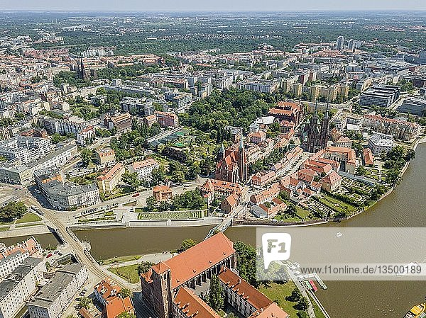 Drone image of the oldest  historic part of Wroclaw  Poland  Europe