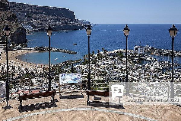 View from Mirador Mogan on marina and coast  Puerto de Mogan  Gran Canaria  Canary Islands  Spain  Europe