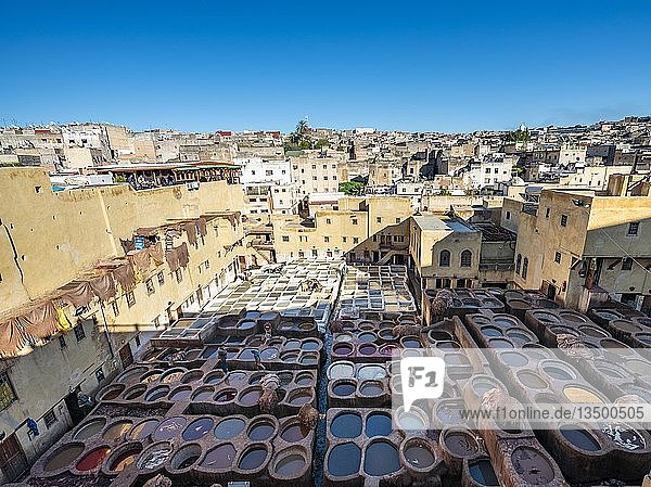 View over tannery  workers dyeing leather  tanks with dye  dyeing plant  tannery  tannery Chouara  tannery and dyeing district  Fes el Bali  Fes  Morocco  Africa