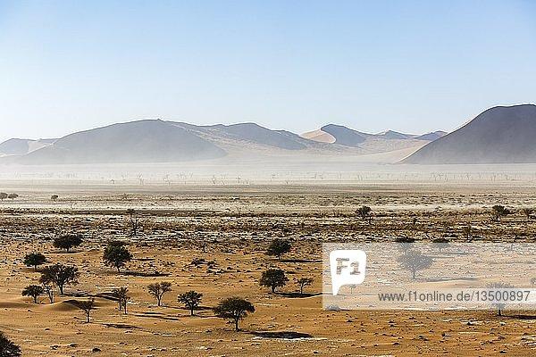 Luftaufnahme  Sandsturm in der Namib Wüste  Sossusvlei Nationalpark  Namib-Naukluft-Nationalpark  Namibia  Afrika