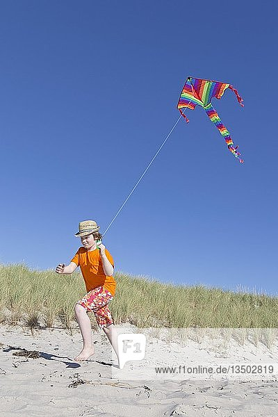 Junge spielt am Strand mit einem Drachen,  Wustrow,  Fischland,  Mecklenburg-Vorpommern,  Deutschland,  Europa