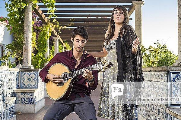 Two musicans  traditional music fado under pergola  Lisbon  Portugal  Europe