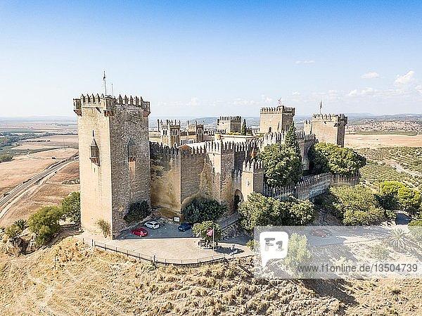 Aerial view of Castle of Almodovar del Rio  Cordoba  Andalusia  Spain  Europe