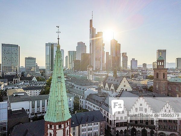 Old town downtown with highrises during sunny day in Frankfurt am Main  Germany  Europe