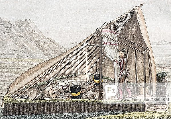 Sommerzelt der Grönländer  handkolorierter Kupferstich aus Friedrich Justin Bertuch Bilderbuch für Kinder  1830  Weimar  Deutschland  Europa