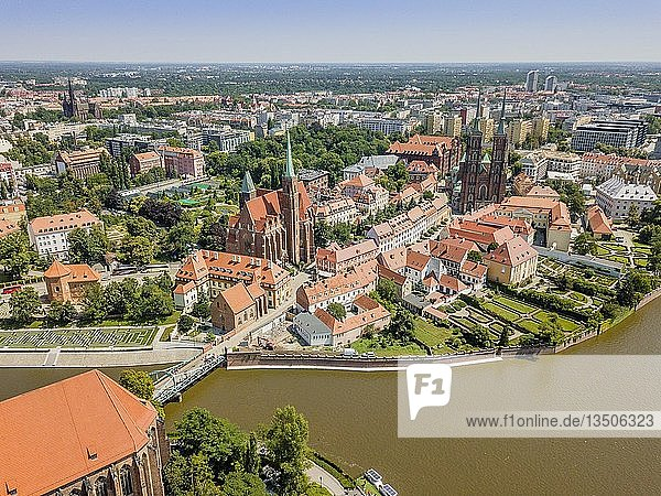 Drone image of the oldest  historic part of Wroclaw located mostly on the islands  Poland  Europe