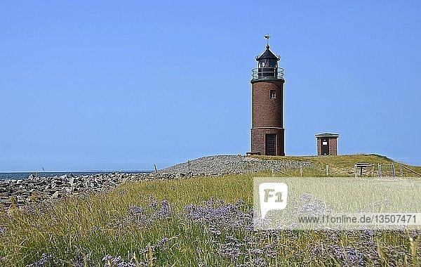 Leuchtturm Nordermarsch auf der Hallig Langeness  Nordsee  Schleswig-Holstein  Deutschland  Europa