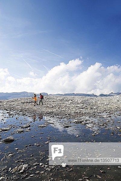 Wanderer auf dem Sellamassiv die sich in einem Schmelzwassersee spiegeln  Sellajoch  Südtirol  Italien  Europa