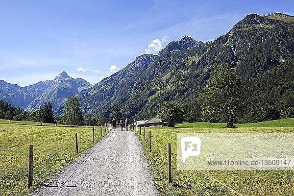 Wanderer im Trettachtal  bei Gottenried  hinten Allgäuer Alpen  Oberstdorf  Oberallgäu  Allgäu  Bayern  Deutschland  Europa