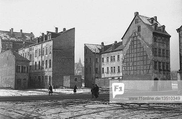 Straßenszene im Winter  1963  Gerberviertel  Leipzig  Sachsen  DDR  Deutschland  Europa