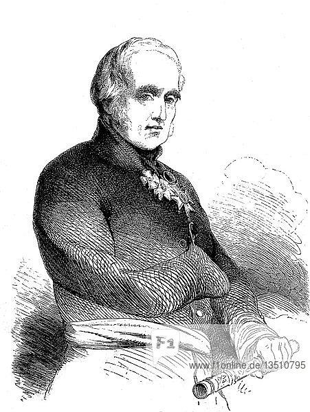 Feldmarschall Fitzroy James Henry Somerset  1. Baron Raglan  30. September 1788  28. Juni 1855  bekannt vor 1852 als Lord FitzRoy Somerset  Offizier der Armee  Holzschnitt  England
