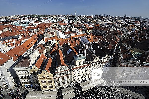 The Old Town Square and the historic district of Prague as seen from the tower of the Old Town Hall  Prague  Bohemia  Czech Republic  Europe