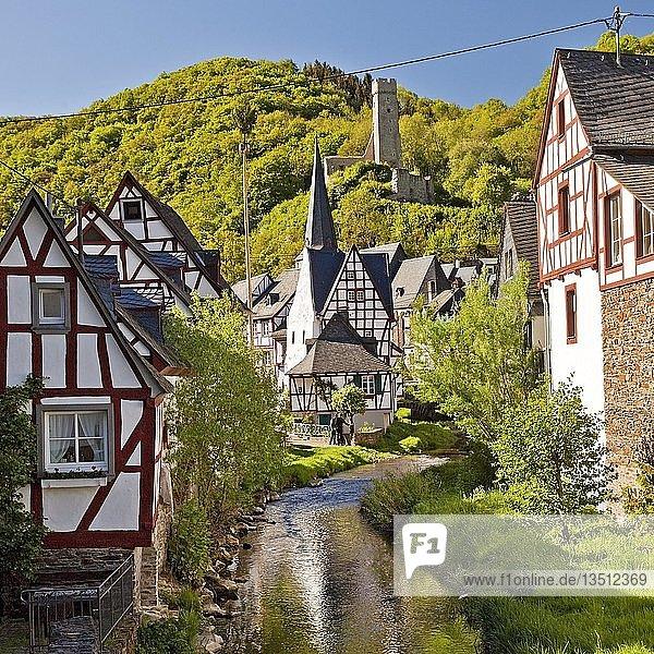 Historischer Ortskern mit Fachwerkhäusern am Elzbach und der Ruine der Löwenburg  Monreal  Eifel  Rheinland-Pfalz  Deutschland  Europa