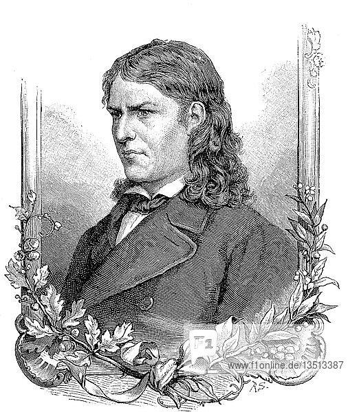 Friedrich Rückert,  16. Mai 1788,  31. Januar 1866,  war ein deutscher Dichter,  Übersetzer und Professor für orientalische Sprachen,  Holzschnitt aus dem Jahr 1888,  Deutschland.