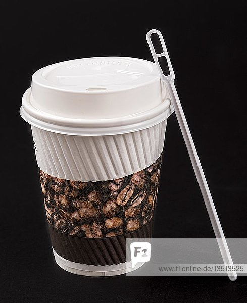 Einwegbecher  Kaffeebecher  to go  mit Plastik Rührstab  Plastikmüll