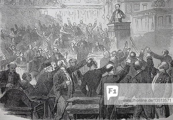 Die Kriegserklärung im Senat in Paris am 15. Juli 1870  Deutsch-Französischer Krieg oder Deutsch-Französischer Krieg 1870/1871 Holzschnitt  Frankreich  Europa
