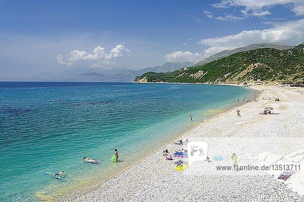 Plazhi Shpella  Strand von Lukova  Albanische Riviera  Ionisches Meer  Qark Vlora  Albanien  Europa