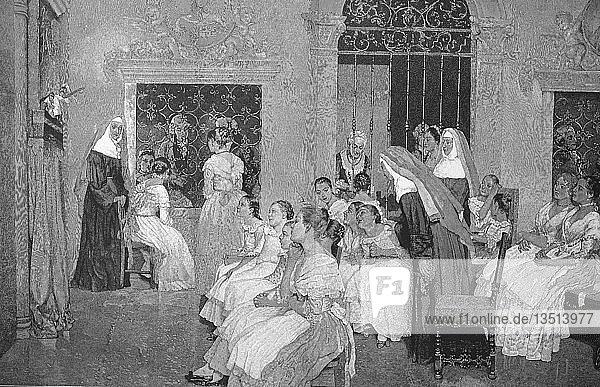 Puppentheater im Kloster  bei der ersten internationalen Kunstausstellung im Künstlerhaus in Wien  Holzschnitt  1888  Österreich  Europa