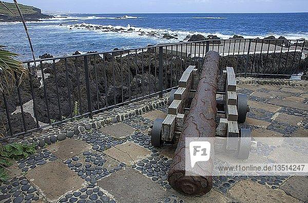 Kanone im Castillo de San Miguel  Garachico an der Nordwestküste von Teneriffa  Kanarische Inseln  Spanien  Europa
