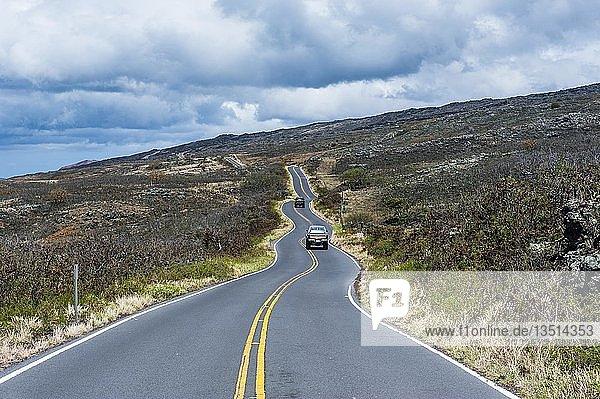 Gewundene Straße an der trockenen Südküste  Maui  Hawaii  USA  Nordamerika