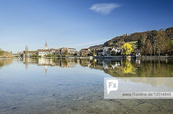 Blick von der Inselgruppe Werd über den Rhein mit der Altstadt von Stein am Rhein und die Burg Hohenklingen  Kanton Schaffhausen  Schweiz  Europa