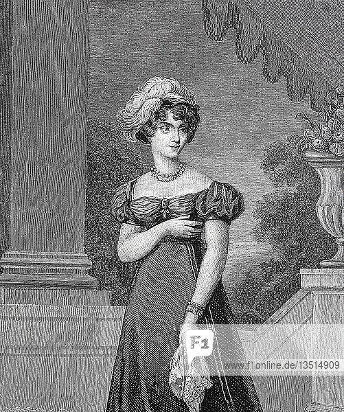Marie-Caroline de Bourbon-Sizilien  Duchesse de Berry  Maria Carolina Ferdinanda Luise  5. November 1798  17. April 1870  italienische Prinzessin  Holzschnitt  Italien  Europa