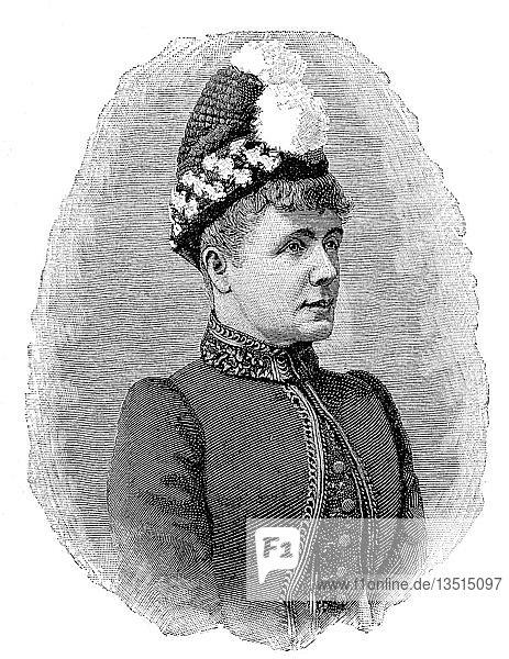 Friederike Gossmann  Gräfin Prokesch von Osten  21. März 1836  15. August 1906  war eine deutsche Schauspielerin  wie Nora  Holzschnitt aus dem Jahr 1888  Deutschland.