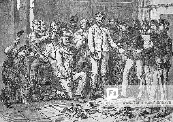Kettenstrafe,  Befreiung von der Kettenstrafe in Österreich durch Kaiserin Elisabeth von Österreich am 19. November 1867,  Gefangene sind den Ketten entnommen,  Holzschnitt,  1888,  Österreich,  Europa