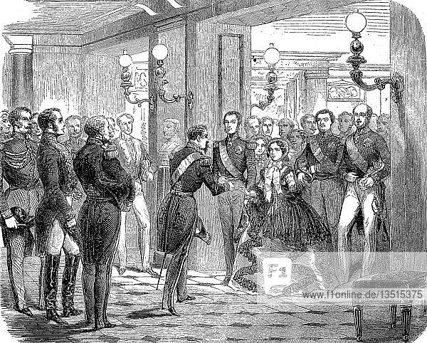 Krimkrieg  Empfang des Herzogs und der Herzogin von Brabant im Schloss St. Cloud  am 12. Oktober 1855  Holzschnitt  Frankreich  Europa