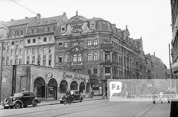 Lotterhaus und Romanushaus  1954  Brühl  Leipzig  Sachsen  DDR  Deutschland  Europa