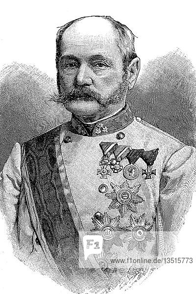 Ferdinand Freiherr von Bauer,  7. März 1825,  22. Juli 1893 war General der k.u.k. Armee und Reichskriegsminister,  Österreich,  Holzschnitt aus dem Jahr 1888,  Deutschland,  Europa