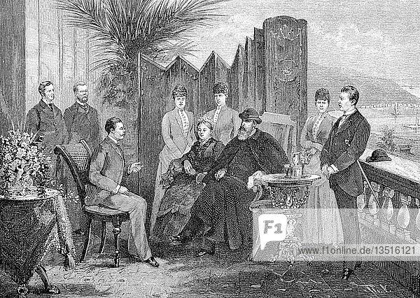 Kronprinz Friedrich Wilhelm und seine Familie auf dem Bahnsteig vor der Villa Zirio in San Remo  März 1888  Holzschnitt  Italien  Europa