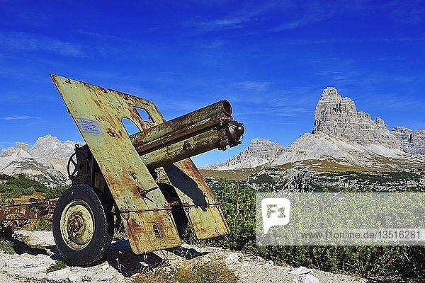 Kanone  1. Weltkriegs-Freilichtmusem  Monte Piana  Hochpustertal  Sextener Dolomiten  Südtirol  Italien  Europa