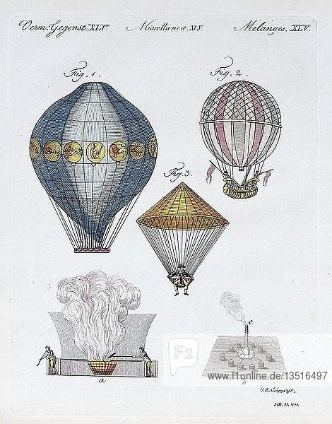 verschiedene Luftschiffe  handkolorierter Kupferstich aus Friedrich Justin Bertuch Bilderbuch für Kinder  1802  Weimar  Deutschland  Europa