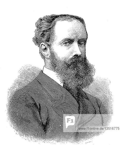 Hugo Julius Raoul Eduard Leszczyc Prinz von Radolin  1. April 1841  12. Juli 1917  war ein deutscher Erbbeauftragter  Diplomat und hochrangiger Hofbeamter  Holzschnitt aus dem Jahre 1888.