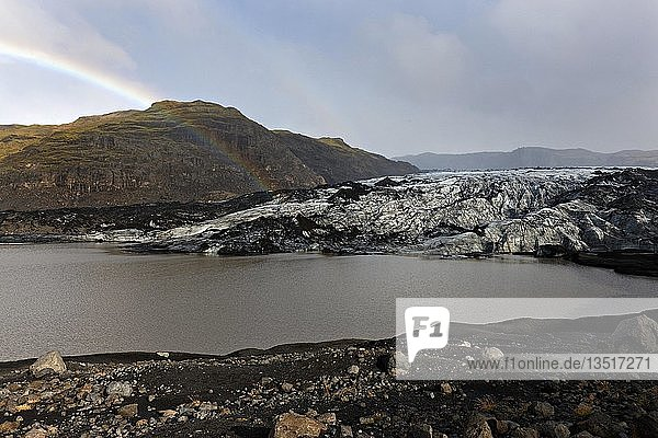 Rainbow over Sölheimajökull Glacier  Southwest Iceland  Iceland  Europe
