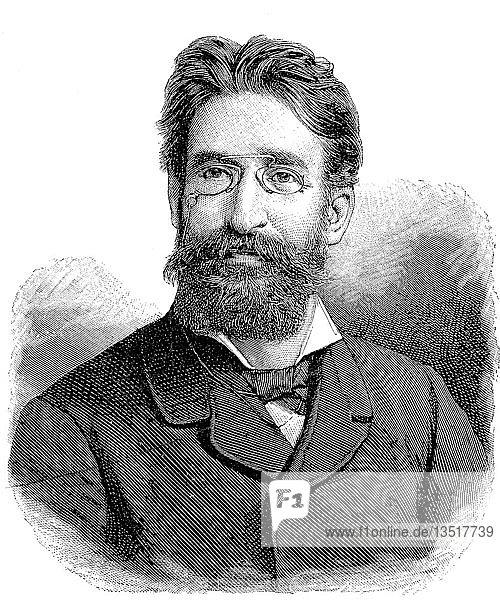 Fritz Mauthner  22. November 1849  29. Juni 1923  war österreichisch-ungarischer Schriftsteller  Theaterkritiker und Satiriker  Böhmen  Holzschnitt aus dem Jahr 1888  Deutschland  Europa