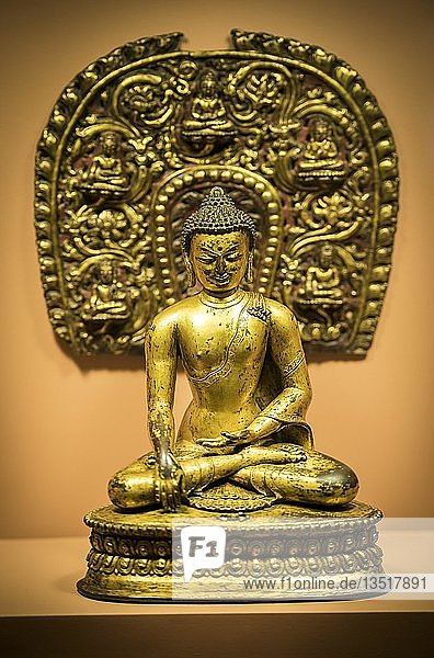 Antike Bronze Buddha Statue  Patan-Museum  Patan  Kathmandu Tal  Himalaya Region  Nepal  Asien