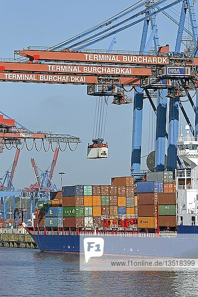 Container werden auf Frachtschiff verladen  Containerterminal Burchardkai  Waltershof  Hamburg  Deutschland  Europa