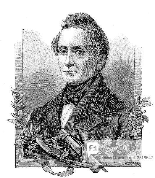 Joseph Freiherr von Eichendorff,  10. März 1788,  26. November 1857,  war ein preußischer Dichter,  Schriftsteller,  Dramatiker,  Literaturkritiker,  Übersetzer und Anthologe,  Polen,  Holzschnitt aus dem Jahr 1888,  Deutschland.,  Europa