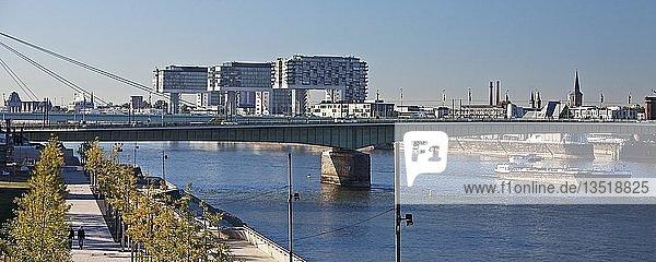 Der Rhein mit Rheinboulevard und Kranhäusern  Köln  Rheinland  Nordrhein-Westfalen  Deutschland  Europa
