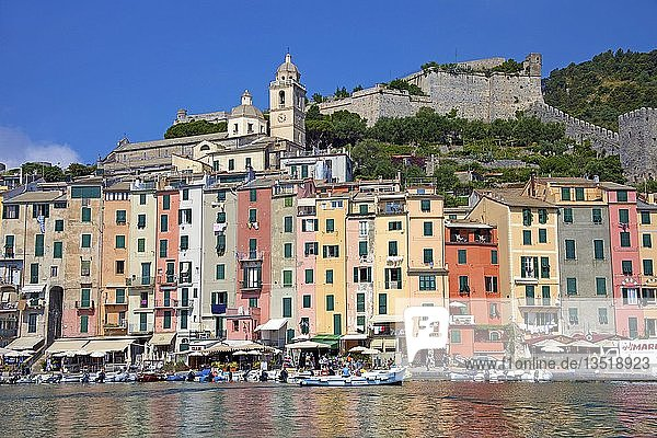 Bunte Häuserzeile am Hafen von Portovenere  Provinz La Spezia  Riviera di Levante  Ligurien  Italien  Europa