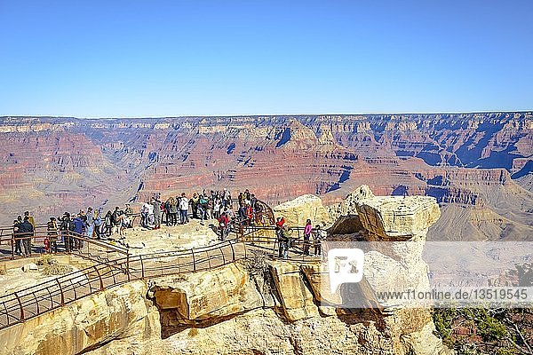 View to Mather Point with visitors  tourists  eroded rocky landscape  South Rim  Grand Canyon National Park  Arizona  USA  North America