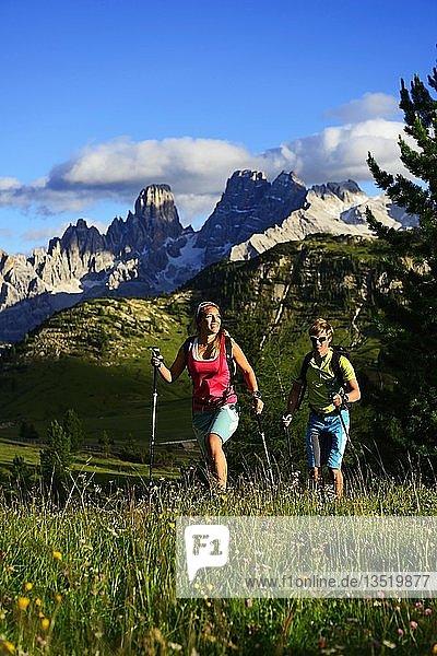 Wanderer beim Aufstieg von der Plätzwiese zum Gipfel des Dürrenstein  dahinter der Gipfel des Monte Cristallo  Sextener Dolomiten  Hochpustertal  Südtirol  Italien  Europa