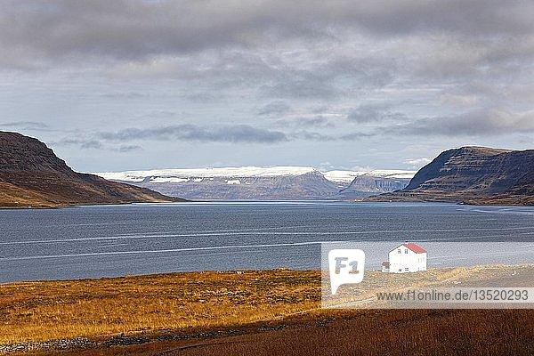 House on Fjord with Drangajökull  Westfjörds  Iceland  Europe